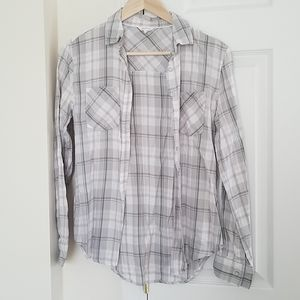 Lightweight grey and pink flannel